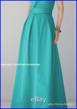 Long red skirt, prom, pleated, maxi, black, turquoise, with pockets, stunning, elegant, ball, evening, modern design, a-line