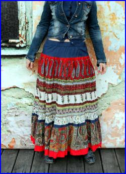 M-L Paisley recycled patchwork summer long skirt hippie boho style