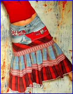 M-M L denim yoke and striped patchwork recycled long skirt hippie boho style
