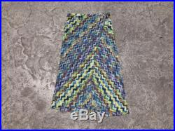MISSONI designer wrap skirt signature print sarong blue rainbow abstract zig zag knit high slit midi Made in Italy extra small XS S 40
