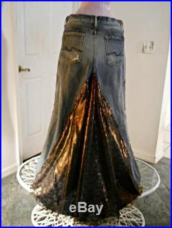 Made to Order Copper Lace jean skirt bronze metallic lace rhinestones Seven for All Mankind bohemian ballroom Renaissance Denim Couture