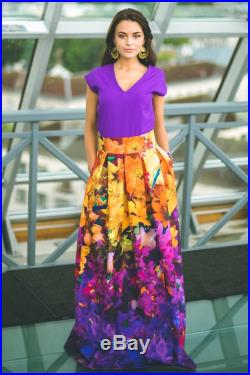 Maxi Floral Skirt By Guntina, Available In Sizes XXS 5XL Custom Size