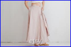 Maxi Linen Wrap Skirt with Deep Side Pocket WILD, A Line Washed Linen Skirt in Pink Color, Long Linen Wrap Skirt, One Size Linen Skirt