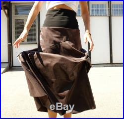 Maxi Skirt Brown Long Skirt Vegan Leather Skirt Full Brown Skirt Wide Faux Leather Skirt Gift For Her Boho Style Boho Skirt