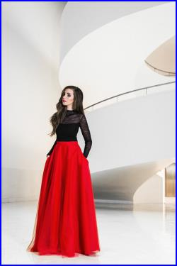 Maxi tulle skirt with pockets, tulle skirt, red skirt, red maxi skirt, new years eve, prom skirt, elegant, party dress