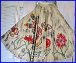 Mexican Circle Skirt 50s Frida Style Hand Painted Sequin Butterflies Flowers Day of the Dead Rockabilly One of a Kind SIGNED 24 Waist