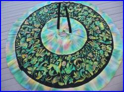 Mexican Circle Skirt Vintage Hand painted Sequined 1950's Dancing Colorful Rockabilly Souvenir