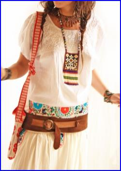 Mexican embroidered dress skirt Vintage Roses bohemian gypsy hippie chic skirt w top