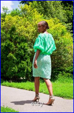 Mint stretch lace with sequins skirt.