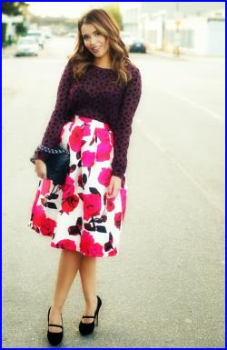 Miss Cynthia's Midi Skirt printed sateen skirt with soft pleating pockets at side seam