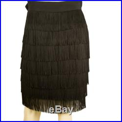 Moschino Couture Vintage Black Fringes Sleeveless Skirt 42