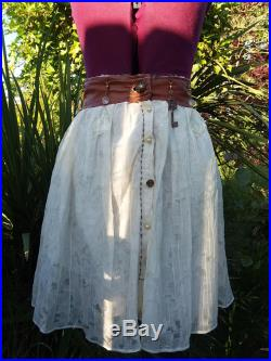 MysticLeathers Leather and Lace Skirt Bohemian Steampunk Larp Renaissance Elven Princess Tribal Belly Dance Indian Feativals Brass Buttons