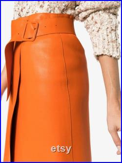 NOORA Women's Leather Beautiful skirt Outfit Leather skirt Women's Leather skirt Vintage skirt Genuine Leather skirt SB679