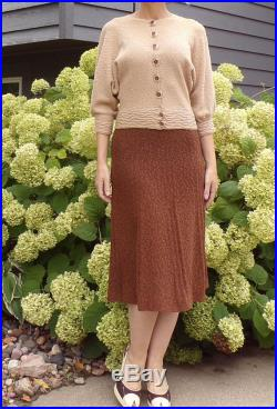 NUBBLY KNIT SET skirt and cardigan 1930's 1940's S