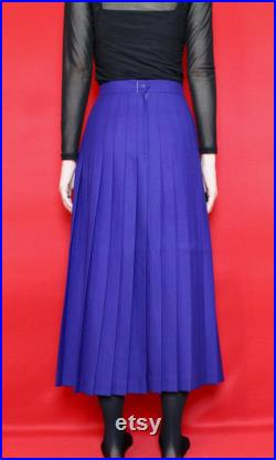 NWT Vintage Royal Blue High Waisted Accordion Pleated A-Line Wool Maxi Skirt, Size 4