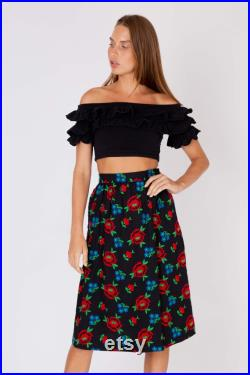 NWT vintage 70's Yves Saint LAURENT YSL flared full skirt ribbed cotton embroidered flowers high waisted hip pockets mint condition