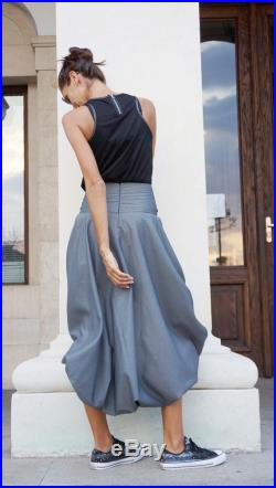 New 2016 Grey Loose Short Long Extravagant Skirt Tight Waisted Cotton Blend Grey Melange Autumn Collection by Aakasha A09496