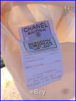 New Vintage 80s ivory wool and silk high waisted Chanel pencil skirt size small 1980s