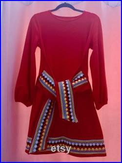 Not For Sale ETSY AWARD Seminole Patchwork Red Wrap Dress