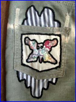 OOAK embroidered butterfly design on corduroy tie dye skirt. Small Med