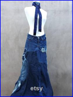 Ohh My Stars of Patchwork Denim Skirt Long and Gorgeous