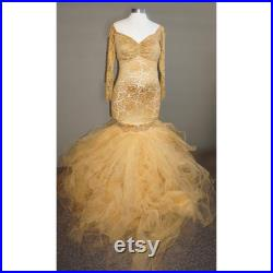 Old Gold Embroidered Lace TULLE DRESS w Long Sleeves Stripe FlowyTutu Non Sheer Maternity Pregnancy Special Ocassion Photo Prop Baby Shower