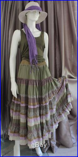 Olive green Maxy skirt from silk,cotton ,viscose in boho style.