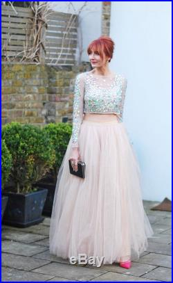 Palest pink full length tulle maxi skirt, made to order, all sizes
