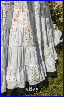 Patchwork Long Skirt, Bohemian, Gipsy, Boho, Maxi Skirt, White, Sea Style, Lace, Vintage, Reuse, Redesign, Recycle, Sustainable Fashion