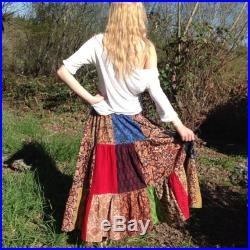 Patchwork skirt, Twirly, Unisex Indian Block Print, Cotton, Women, Men, One Size Fits All, Plus size, boho, festival, Handmade