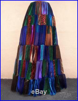 Peacock color sparkling patchwork skirt. Ameynra design. OOAK. Size M. Very long