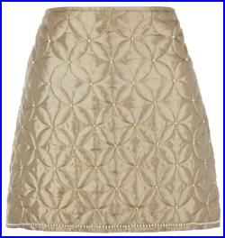 Pearl embroidered quilted gold skirt by ROSAvelt