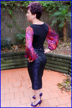 Pencil Skirt in Navy Blue Floral, High Waist, Fully Lined, Knee Length, Gold Top-Stitching, Split at Back, Made in Australia