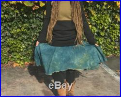 Perfect Storm Heavy Weight Hemp French Terry Cinch Skirt Ready To Ship SMALL Turquoise Herbal Dyed and Shungite Infused