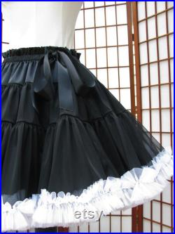 Pettiskirt Black and White Chiffon, 2 Layers - Custom Size, Length, and Colors - Made to Measure, Adults and Children