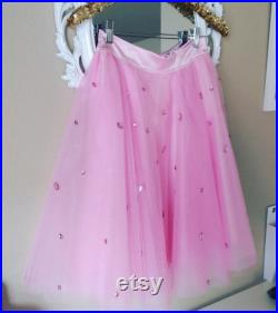 Pink Embellished Tulle skirt, Pink Tulle Skirth with Rhinestones, Tulle skirt , Pink skirt
