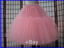 Pink Tulle Skirt Partial Lining 8 Layers - Custom Size, Length, and Colors - Made to Measure, Adults and Children