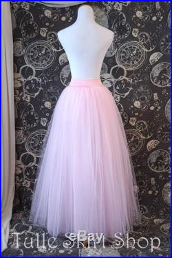 Pink Tulle Skirt with Stretch Waistband Full Length Adult Tutu, Bridesmaid Skirt, Princess Skirt or Petticoat Custom Sized