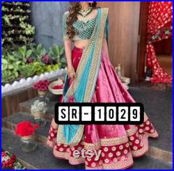 Pink colour velvet embroidery Indian lehenga choli for wedding reception bridemade partywear indian ethnic dress for women's wedding lehenga