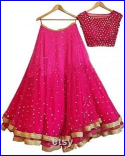 Pink lehenga choli party wear latest Indian lengha blouse Indian dress for women's Indian .