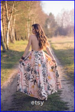 Pleated floral maxi skirt with a slit. Elegant maxi skirt, wedding skirt, A-line maxi skirt, slit skirt, high waisted floral maxi skirt.