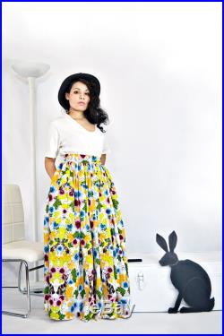 Prairie Skirt- Floral Rabbit Print, Eco-Cotton, Eco-print, High Gathered Waist, Ballgown Maxi Skirt with Pockets by Rehcy Vonne, Made-to-Order