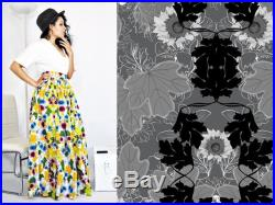 Prairie Skirt- Gray Black and White Floral Victorian, Eco-friendly, High Waist, Ballgown Maxi Skirt with Pockets by Rehcy Vonne, Made-to-Order