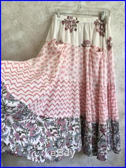Prairie skirt in cotton voile mixed block prints pink florals