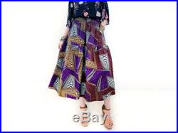 Purple African Print Midi Skirt with Pockets, Prairie Style Cotton Skirt, Unique Summer Clothing