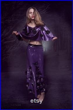 Purple latex skirt decorated with flowers