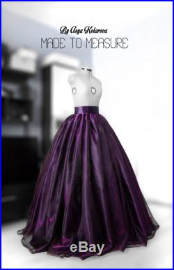 Purple organza skirt Wedding gown Bridal satin skirt Princess gown Ball skirt Full skirt Prom skirt Crinoline Custom made Puffball Formal