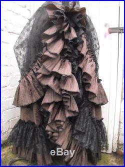 Quirky Gothic Long Skirt w Bustle Hitch Steampunk Victorian Saloon Skirt Whitby Brown Black 2 pcs skirt full length skirt UK 8-18 US 6-16