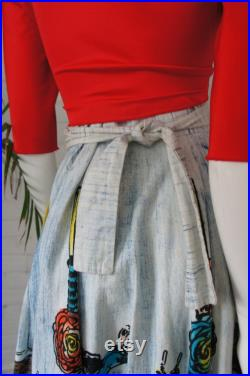 RAINBOW MATADORS Vintage 1950's Hand Painted Mexican Souvenir Circle Skirt, Airbrushed Cotton Wrap Skirt, by Artegreen made in Mexico