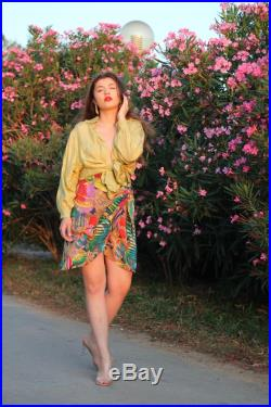RARE Vintage 90s P.K. Mui Designer wrap silk skirt with exotic fishes print PETER MUI Couture Weekend High waist elastic band skirt